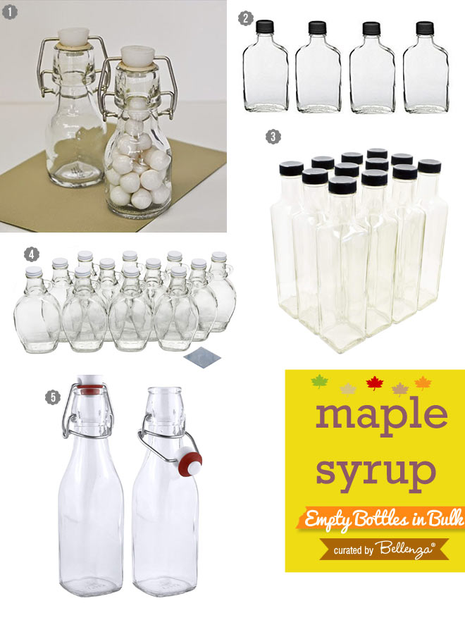 Empty bottles for making maple syrup wedding favors