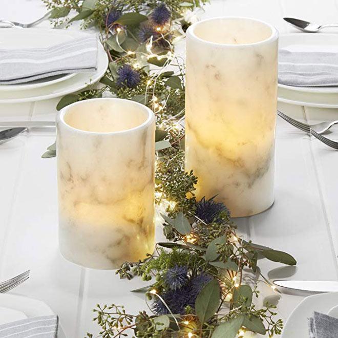 Marbled LED candles via Amazon