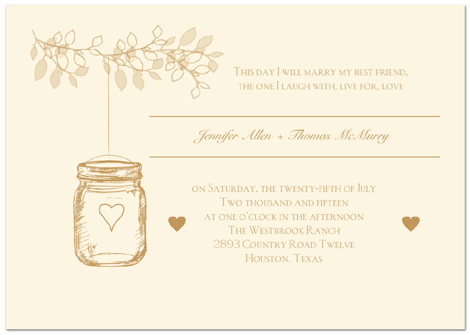 Lantern Jar Wedding Invitation