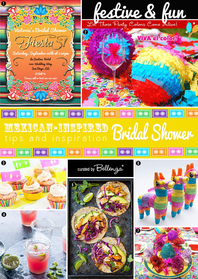 Elements for a Mexican Themed Bridal Shower From Pinata Favors to Sombrero Centerpieces.
