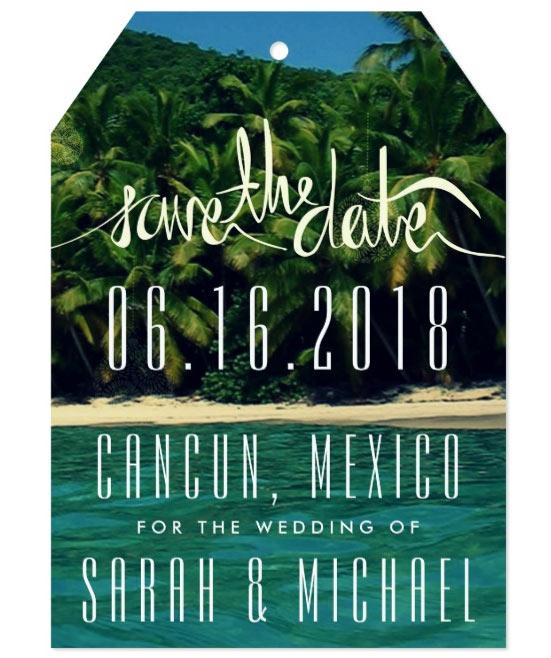 Tropical Beach Save the Date Tag Card