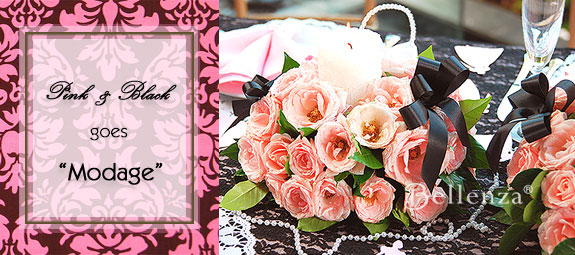 Pink roses with ribbons displayed as a vintage centerpiece