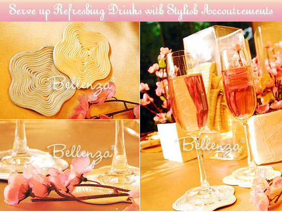 Plum wine, cherry blossom coasters, cherry blossom engagement party