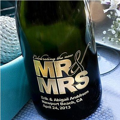 MR & MRS Etched Wine from EtchedWine.com