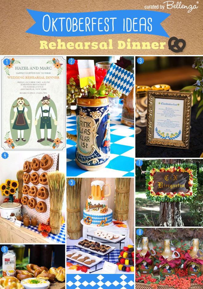 Oktoberfest Rehearsal Dinner Decorations and food