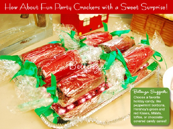 red ad green Christmas crackers with surprise treats