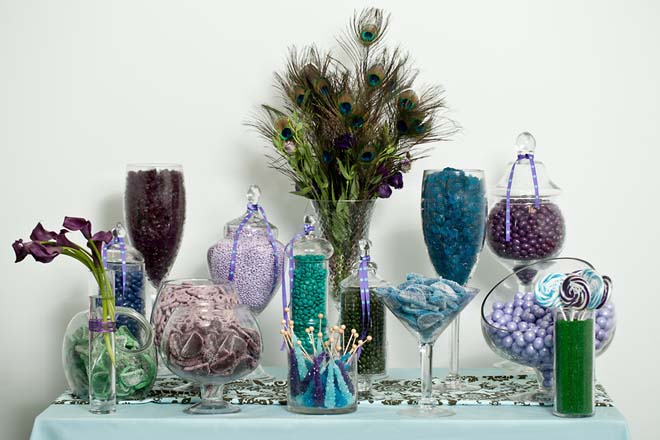 Peacock-themed candy buffet from Nuts.com