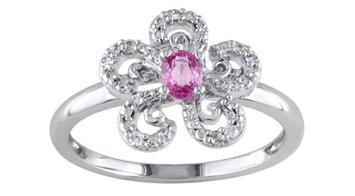 Pink Sapphire and Diamond Flower Ring in 10k White Gold