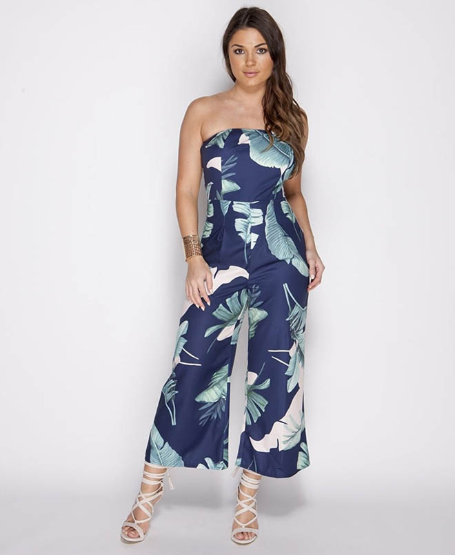 Tropical Print Wide Jumpsuit