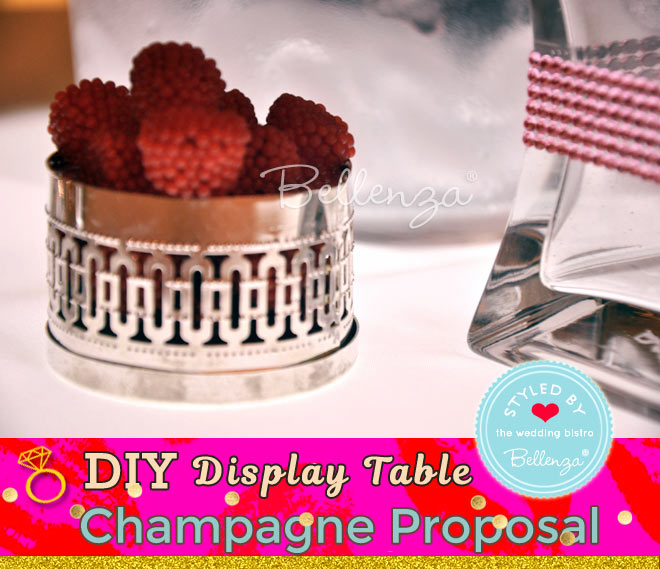 Champagne bucket on table