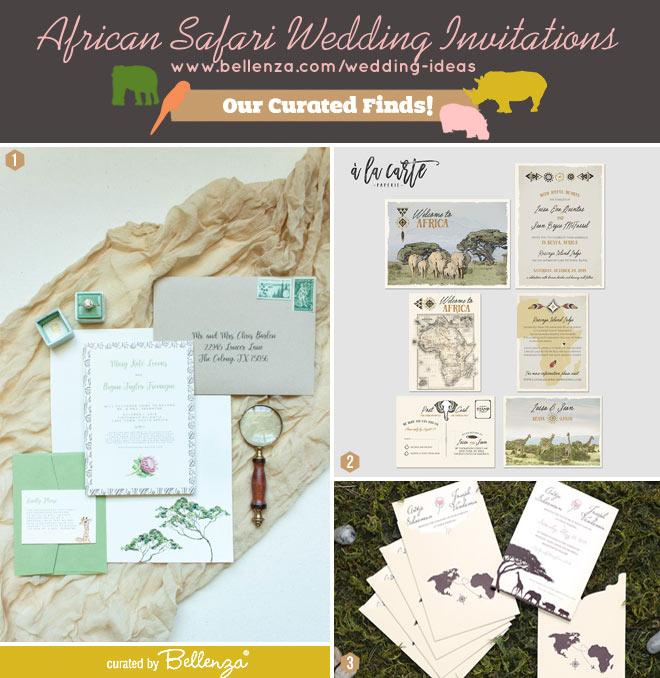 Vintage-style safari wedding invitations