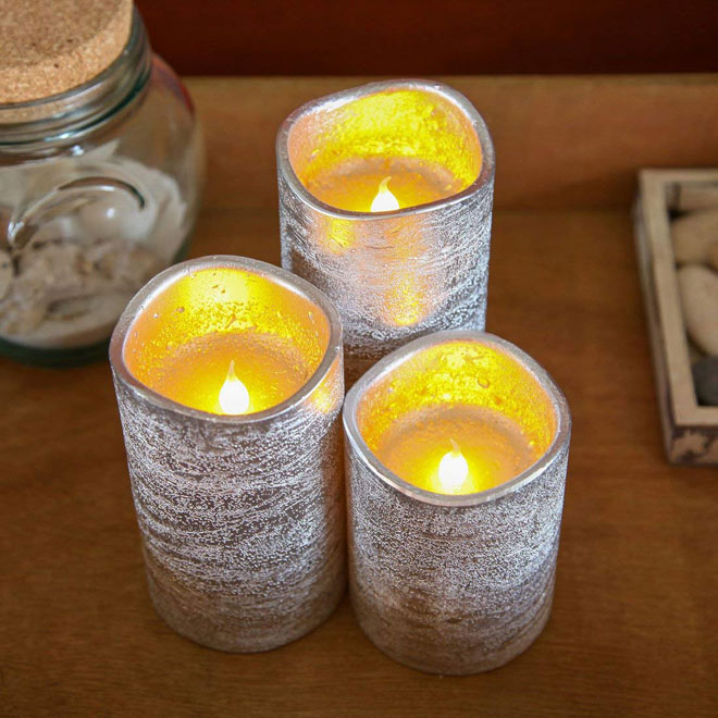 Silver flameless LED candles