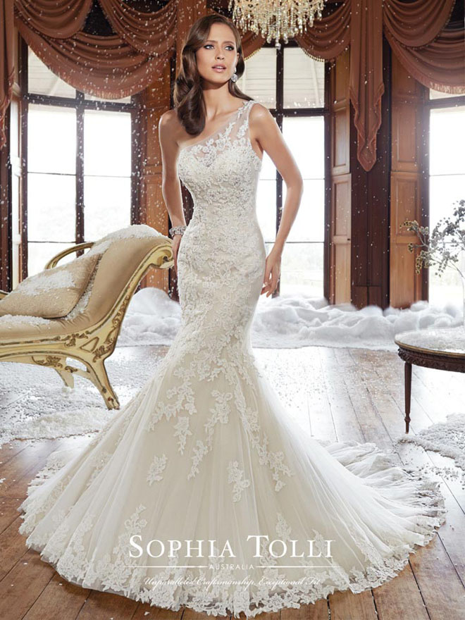 Alluring One-Shoulder Bridal Gowns: Fall Style Goes Trendy!