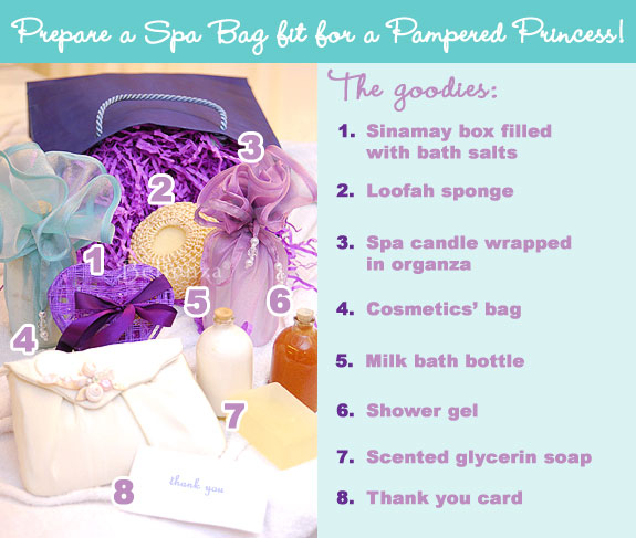 Spa Themed Bridal Shower Gift Bag Ideas
