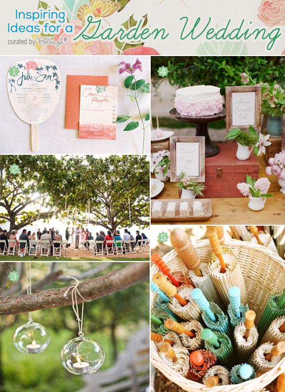 Pretty spring wedding ceremony in a garden