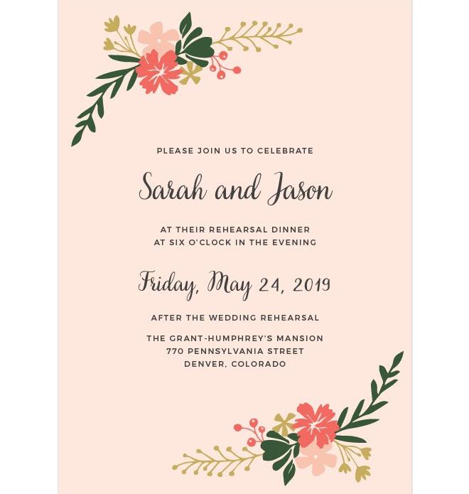 Spring rehearsal dinner floral invite from Basic Invite