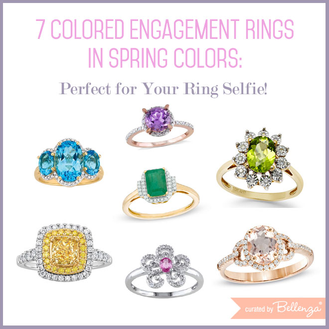 Spring engagement rings in blue, pink, peach, aqua, and green // curated by Bellenza.