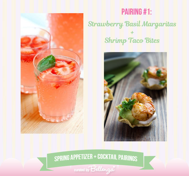 Strawberry Basil Margaritas and Shrimp Taco Bites