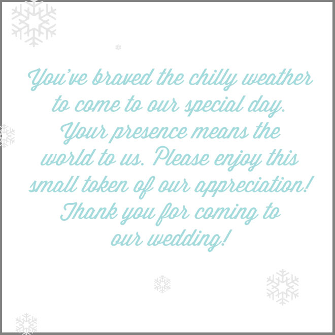Winter wedding thank you example by Bellenza.