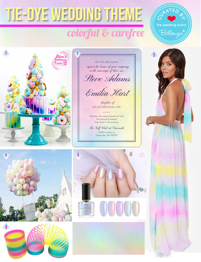Tie Dye Wedding in a Pastel Rainbow of Colors Inspiration Board