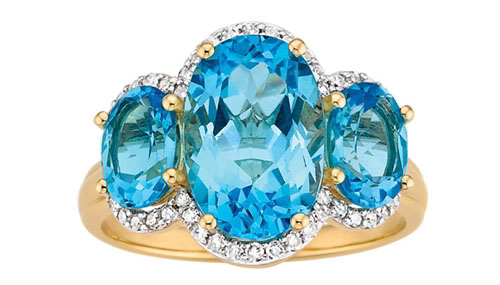 Blue topaz ring via Fred Meyer Jewelers.