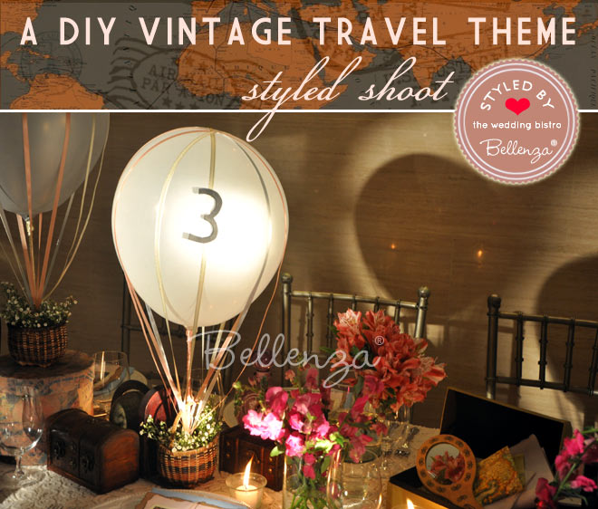 Travel-themed centerpieces with vintage elements.