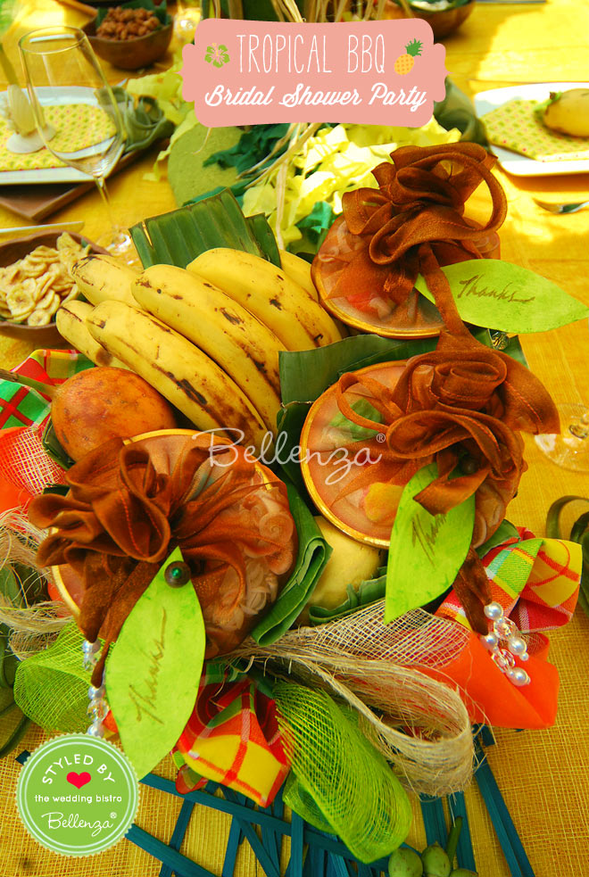 Give tropical bridal shower favors with treats in pretty wrapping.