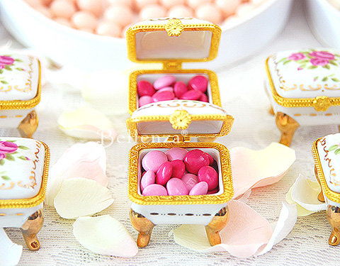 Parisian themed bridal shower favor boxes