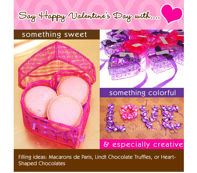 Pink and purple heart shaped boxes for Valentines day favors