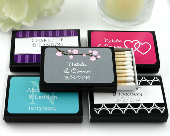 Colorful matchbooks via myweddingfavors