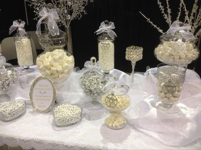 """White Winter Wonderland"" Candy Table Vintage Style"