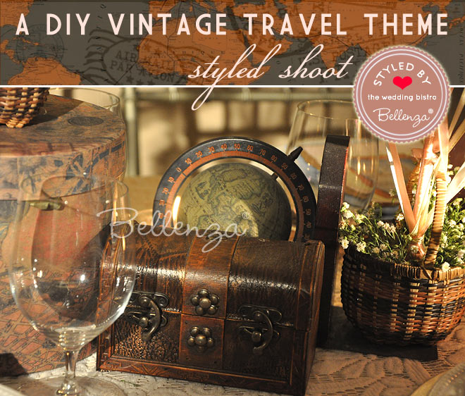 Vintage globe centerpiece decor elements.