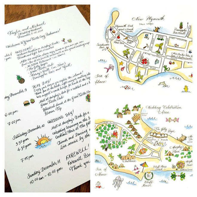 Custom Drawn Wedding Map and Itinerary