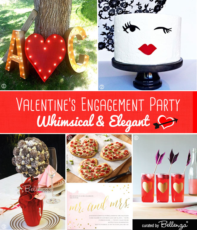 Whimsical Valentine's Engagement Party with a Wink Cake, Cupid's Arrow Cocktails, Topiary Centerpieces, Heart Pizzas, and Blush and Gold Invites.