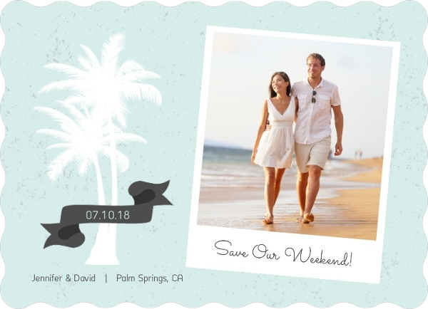 White Palm Tree Beach Save The Date Card