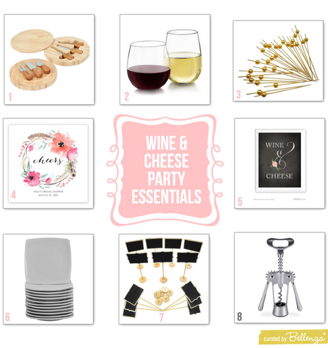 Wine and cheese party essentials for a bridal shower.