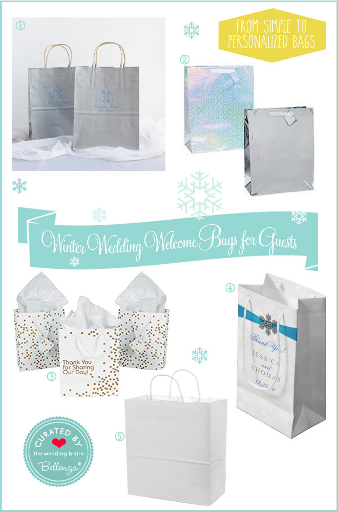 Winter welcome gift bags from metallic foil to simple white to personalized to diamante.