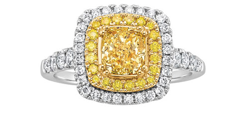 1 3/4 ct. tw. Yellow Diamond Engagement Ring in 14K White and Yellow Gold via Fred Meyer Jewelers