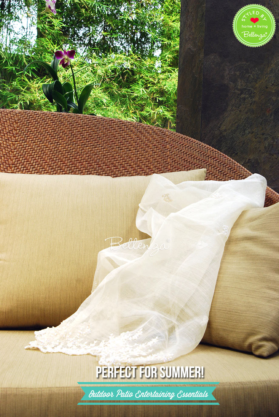 Beige rattan sofa with shawl.