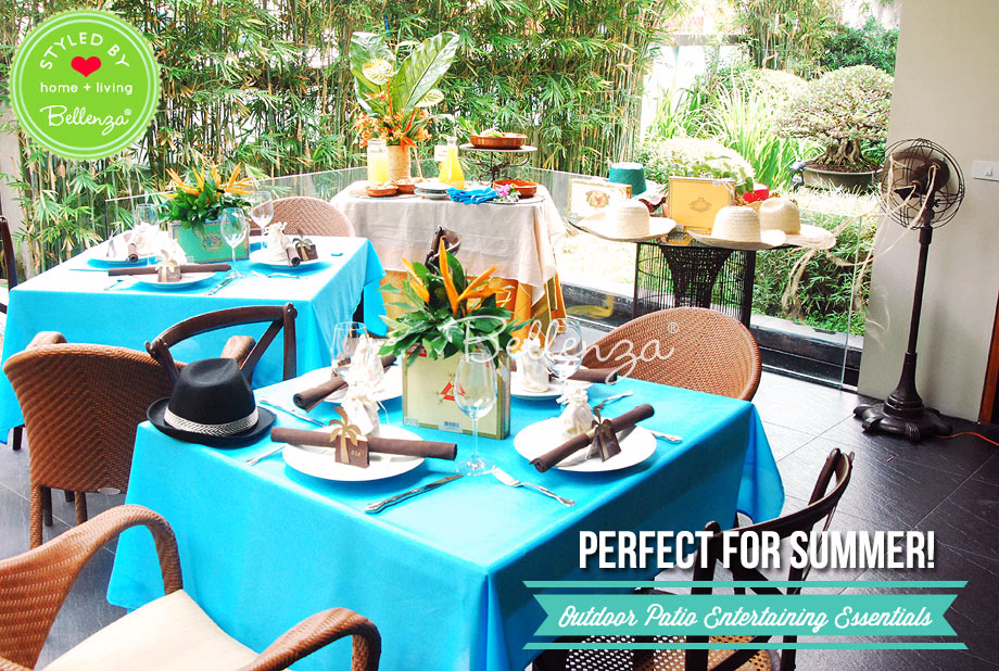 Outdoor Patio for Summer in Hues of Green, Blue, and Brown.