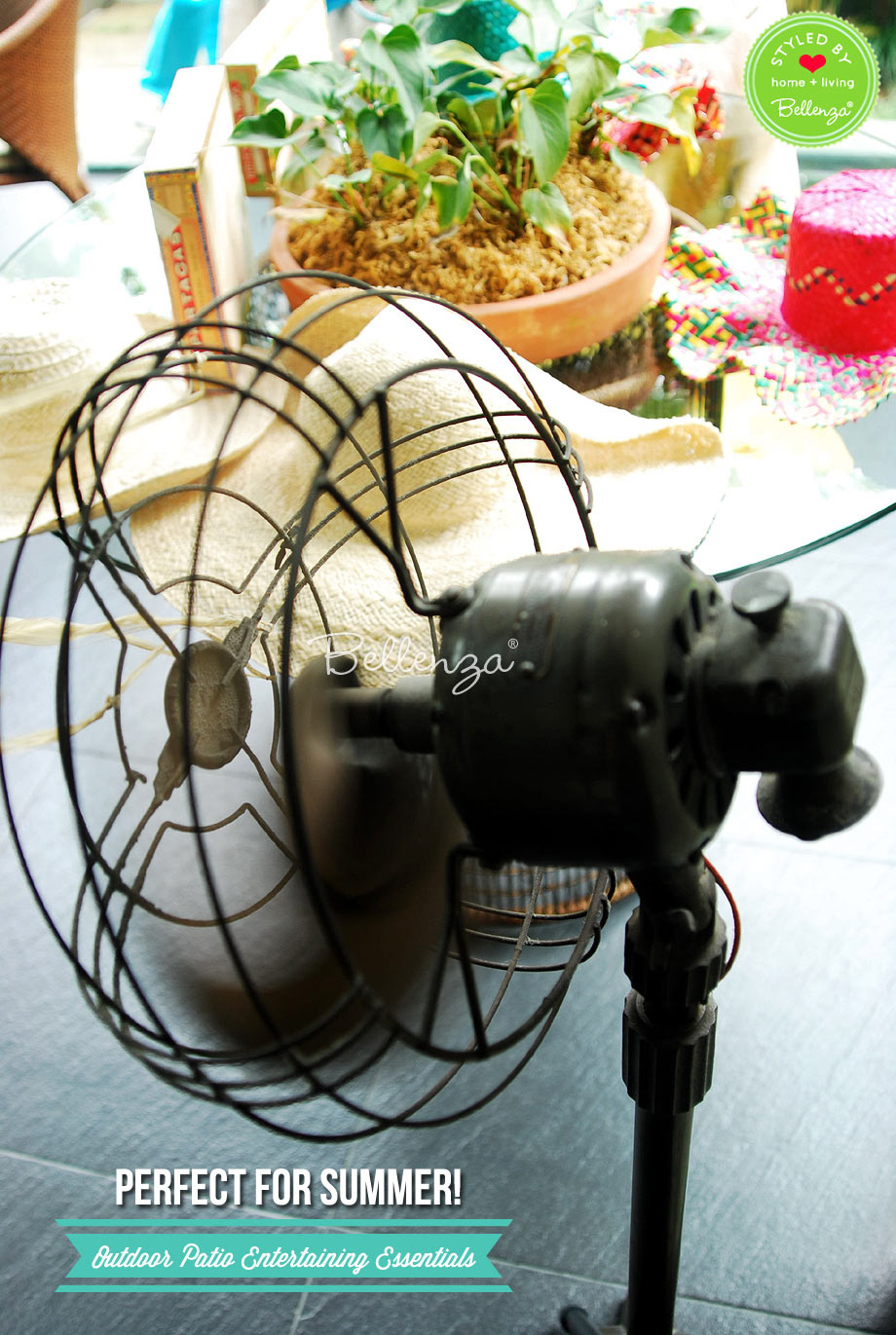 Vintage fan for outdoor patio entertaining.