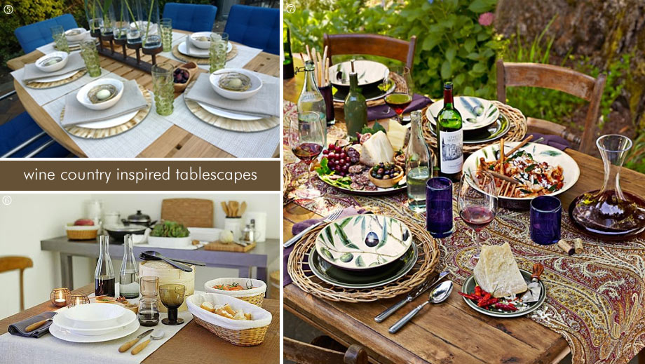Wine country tablescapes for summer entertaining.