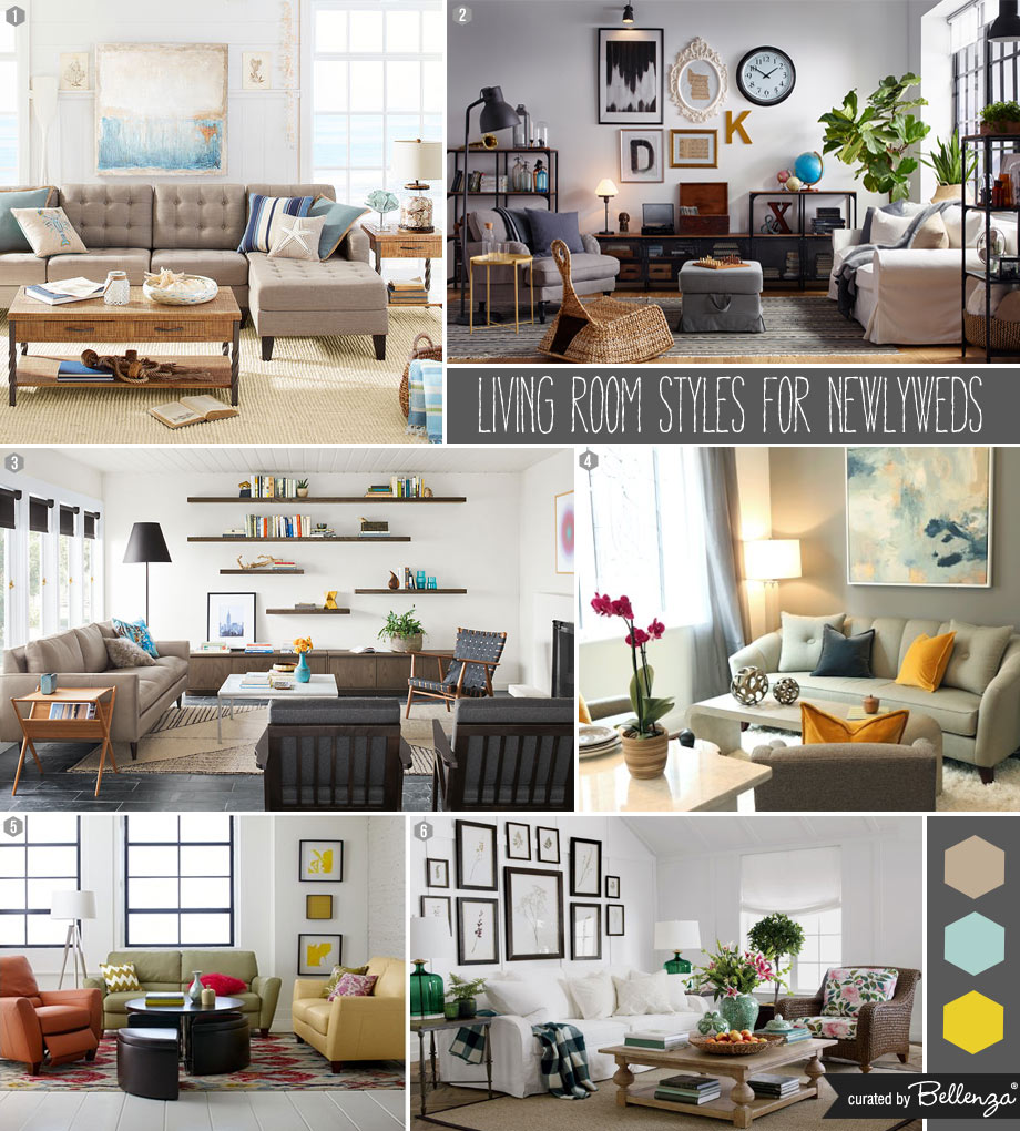 6 Living Room Styles for Newlyweds Curated by the Bellenza Home and Living Blog.