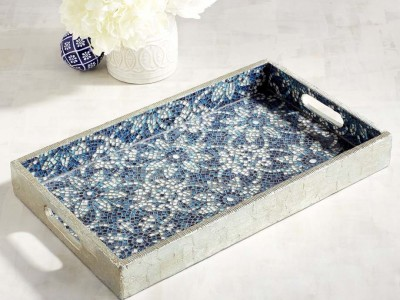 Mosaic Tray in Blue and White with Silvery Edges from Pier 1.