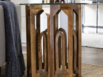 End Table Carved from Mango Wood with an 8-sided Design from Pier 1.