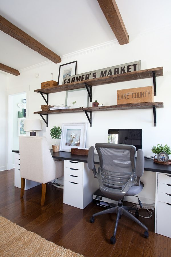 A home office that has varied chairs with a farmhouse style via The Lettered Cottage