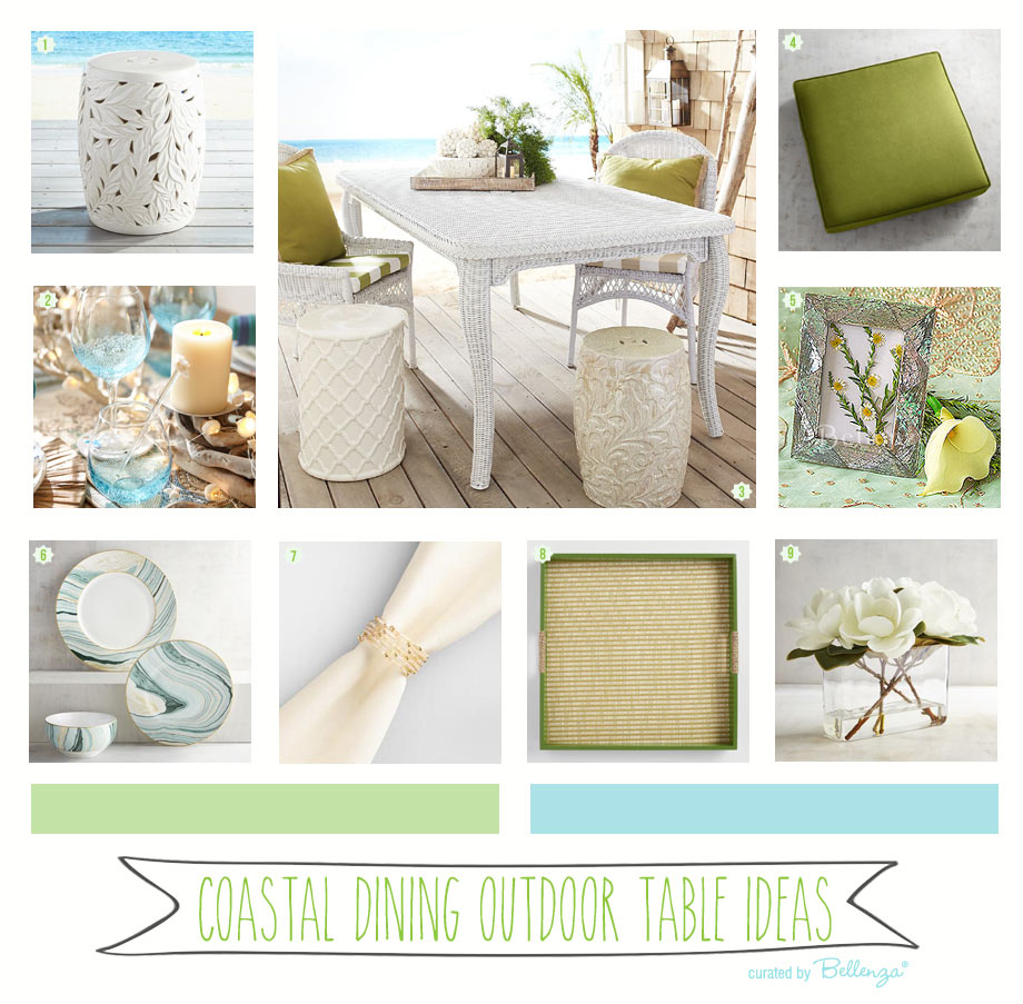 Coastal Dining Outdoor Table Ideas in Hues of Turquoise and Green