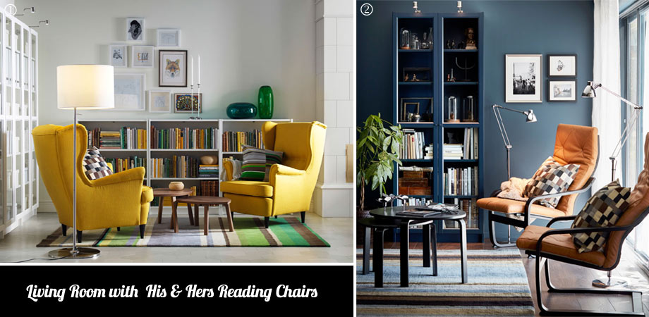 Living Room with  His & Hers Reading Chairs
