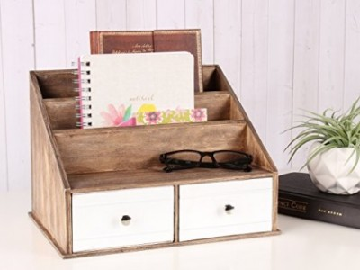 Industrious Desktop File Folder Organizer - Rustic Brown and White - from Kate and Laurel via Amazon