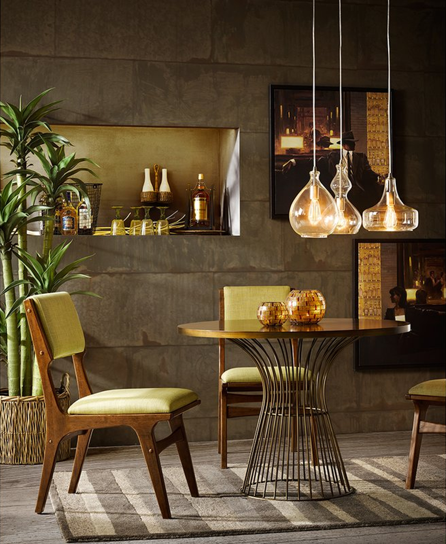 Midcentury-style set in brown and tan chairs.